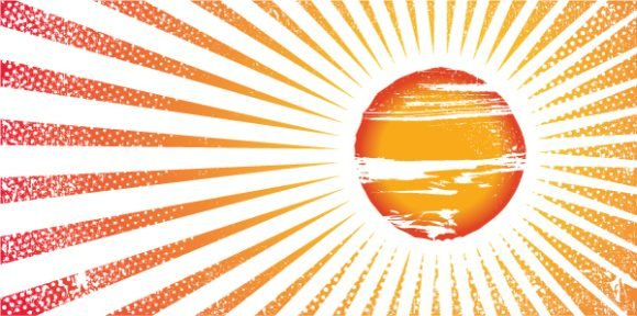 Smashing Summer Eps Vector: Grunge Summer Background With Sun And Rays 1