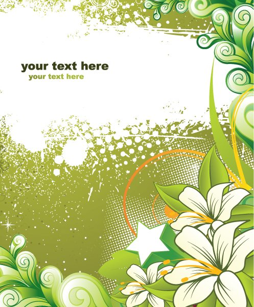 Background, Floral Vector Graphic Vector Grunge Background With Floral 1