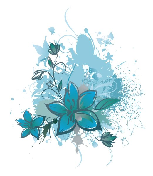 Floral, Background Vector Art Vector Grunge Background With Floral 1