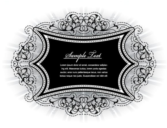 Amazing With Vector Art: Vintage Floral Frame With Rays Vector Art Illustration 1