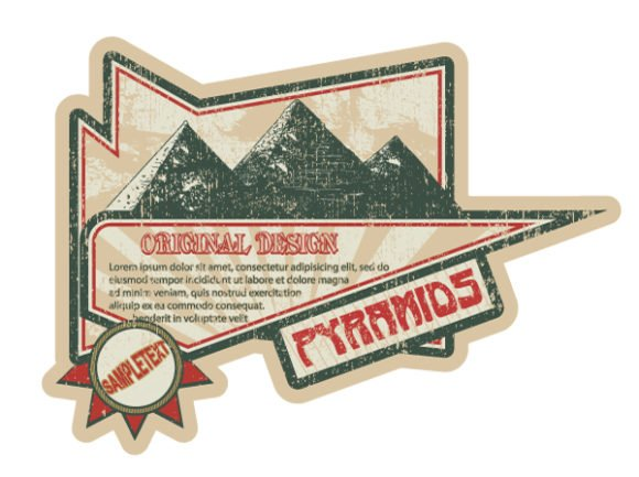 Label, Pyramids Vector Illustration Vector Grunge Label With Pyramids 1