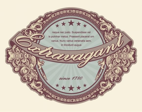 Vector Vector Art: Vector Art Elegant Vintage Label With Floral 1