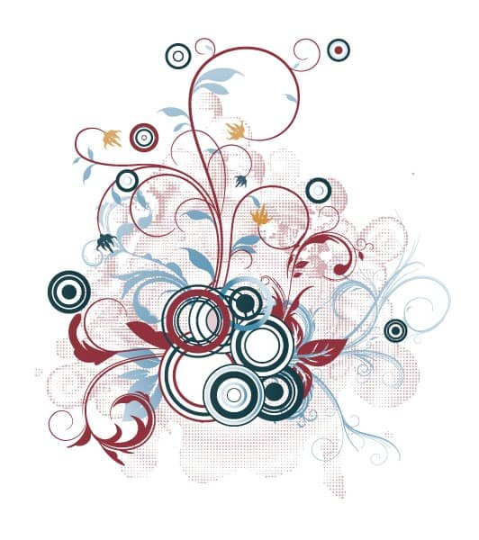 Vector Vector Background: Vector Background Floral Illustration With Circles 1