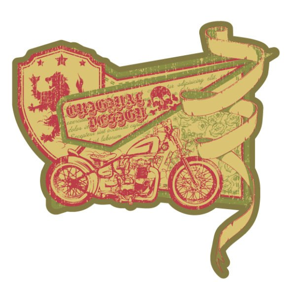 Vector, With, Label, Vintage Vector Artwork Vector Vintage Label With Motorcycle 1
