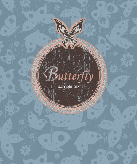 With Vector Design Vector Grunge Background With Butterflies 1