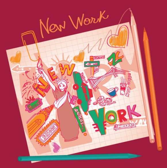 Coffee Vector Image New York Doodles Vector Illustration 1