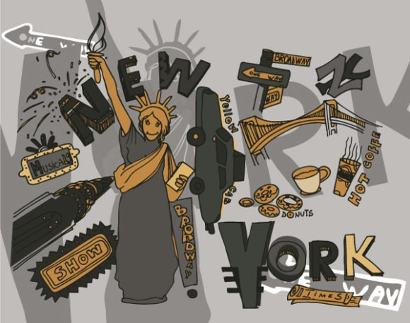 York, Vector, Doodles Vector Background New York Doodles Vector Illustration 1