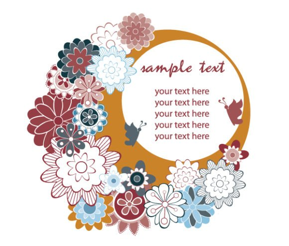 Amazing Abstract-2 Eps Vector: Eps Vector Retro Frame With Floral 1