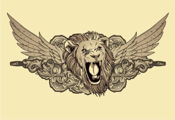 Floral, Illustration Vector Lion With Floral And Wings Vector Illustration 1