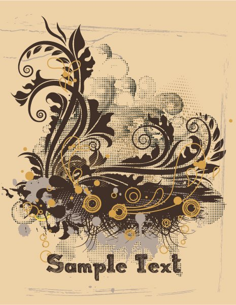 Trendy Circle Vector Design: Vintage Grunge Floral Vector Design Illustration 1