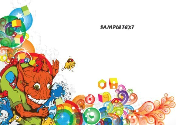 Background Vector Design: Vector Design Colorful Abstract Background With Funny Monsters 1