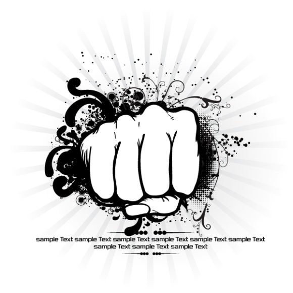 Smashing Flower Vector Image: Vector Image Fist With Rays Background 1