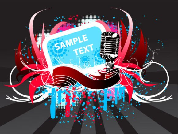 With, Rusty, Microphone, Music, Poster Eps Vector Vector Abstract Music Poster With Microphone 1