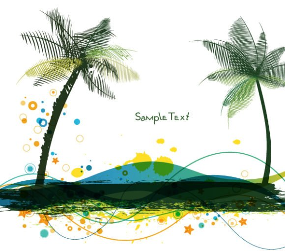 Lovely Illustration Vector Art: Vector Art Summer Background With Palm Trees 1