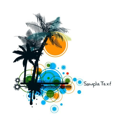 Trees Vector Design Vector Summer Background With Palm Trees 1