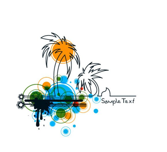 Palm, With Vector Illustration Vector Summer Background With Palm Trees 1