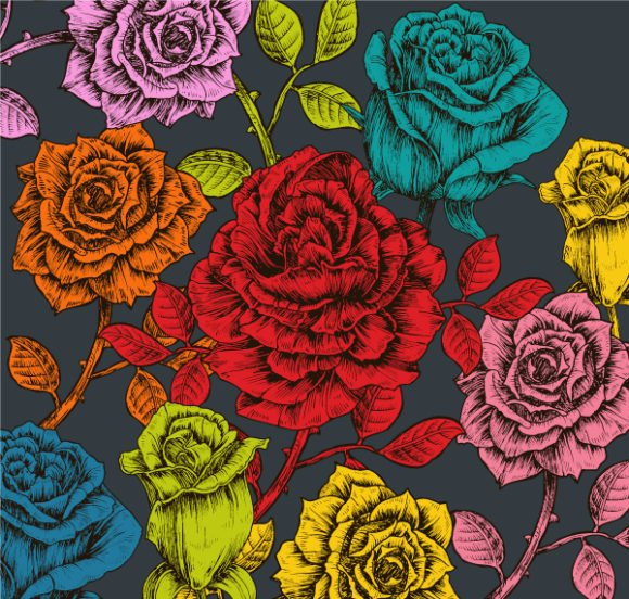 With, Vector, Roses Vector Graphic Vector Vintage Floral Background With Roses 1