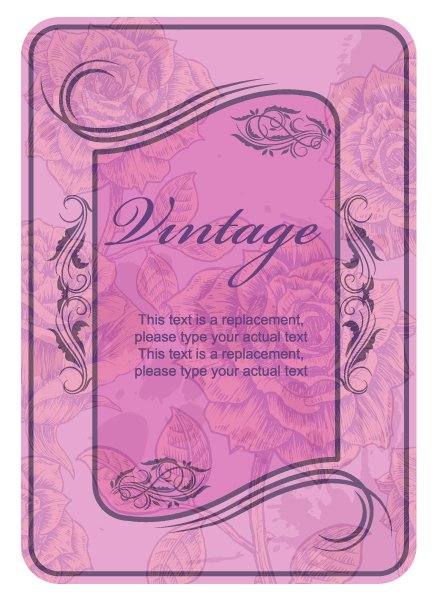 Roses Vector Background Vector Vintage Label With Roses 1