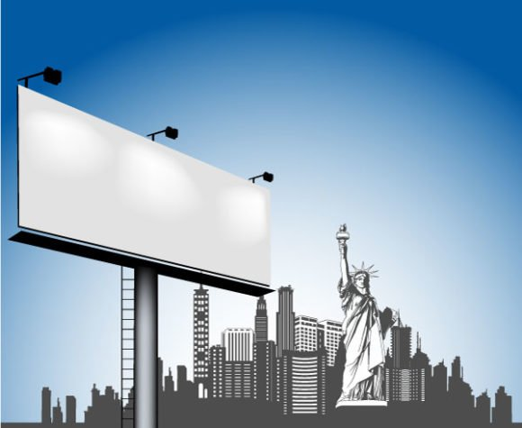Urban, Billboard, Vector Vector Vector Urban Illustration With Billboard 1