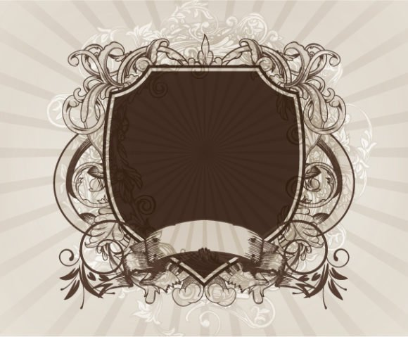 Emblem, Vintage-2, Background Vector Design Vector Vintage Emblem With Rays Background 1