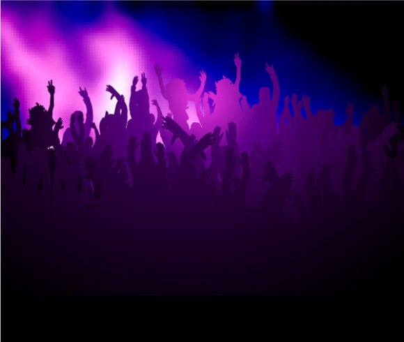 Astounding Illustration Vector Graphic: Vector Graphic Concert Poster With Crowd 1