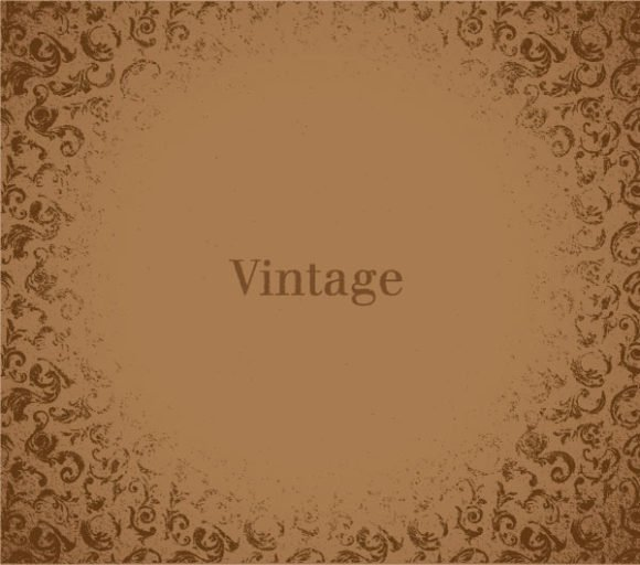 Rust, Grunge, Vector, With, Floral Vector Design Vector Vintage Grunge Background With Floral 1