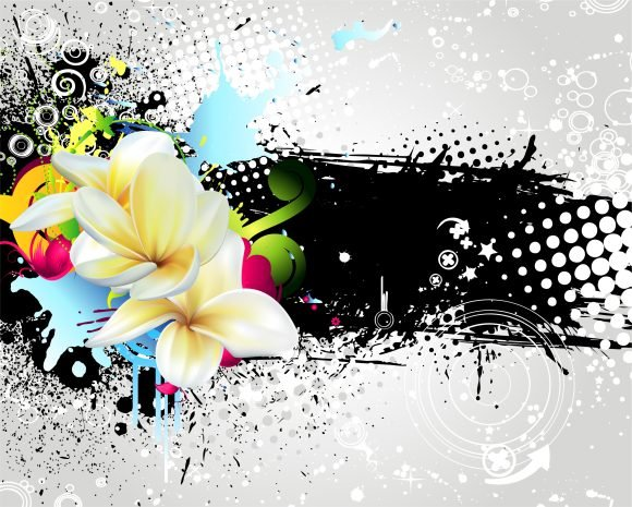 Grunge, Vector Vector Image Vector Grunge Colorful Floral Background 1