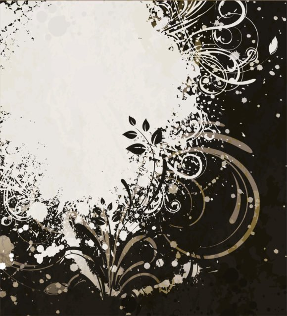 Grunge, Vector, Dirty, Background, Grunge Vector Art Grunge Floral Background Vector Illustration 1