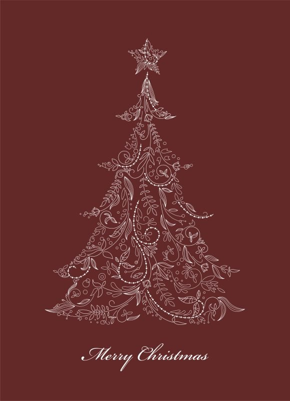 Smashing Made Vector Background: Vector Background Christmas Tree Made Of Floral 1