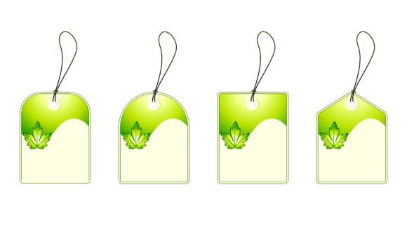 Gorgeous Tags Vector Artwork: Vector Artwork Green Shopping Tags Set 1