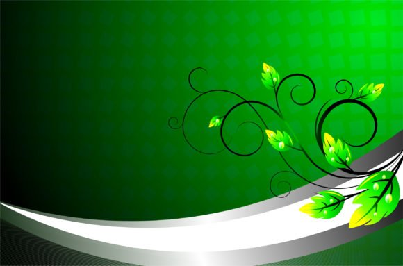 Gorgeous Illustration Eps Vector: Green Floral Background Eps Vector Illustration 1