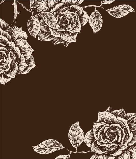 Bold Plant Vector: Vintage Floral Background With Roses Vector Illustration 1