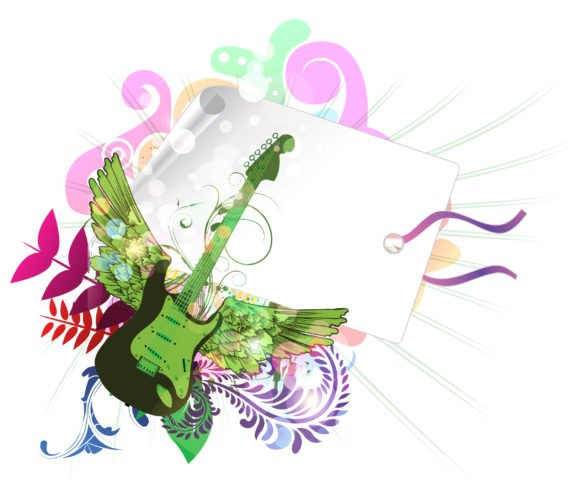 Awesome Vector Vector: Vector Music Illustration With Guitar 1