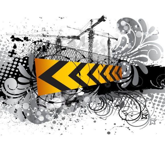Trendy Sign Vector Art: Under Construction Sign Vector Art Illustration 1