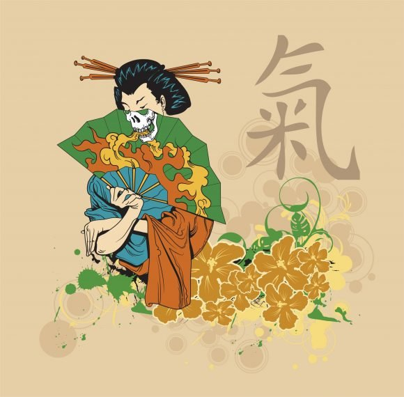 Design Vector Background Vector Japanese T-shirt Design With Geisha 1