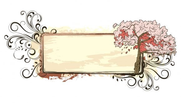 Surprising Vector Vector Design: Vector Design Grunge Floral Frame With Cherry Tree 1