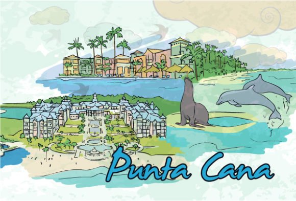 Surprising Vector Vector Graphic: Punta Cana Doodles Vector Graphic Illustration 1