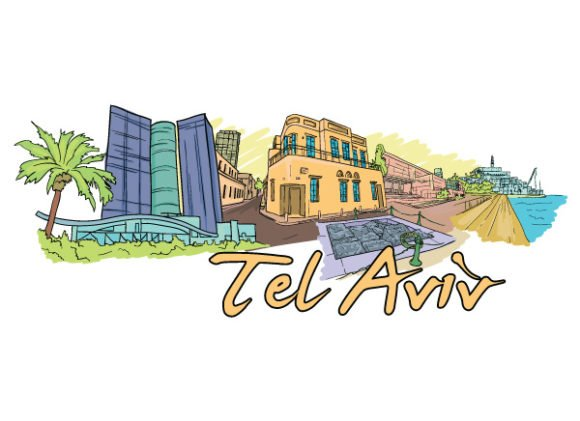 Astounding Tel Vector: Tel Aviv Doodles Vector Illustration 1