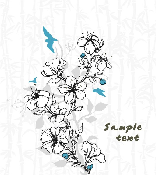 Illustration Vector Design: Vector Design Birds With Floral 1