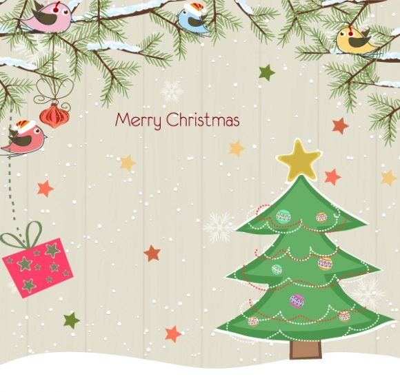 Surprising Tree Eps Vector: Eps Vector Christmas Background With Tree 1