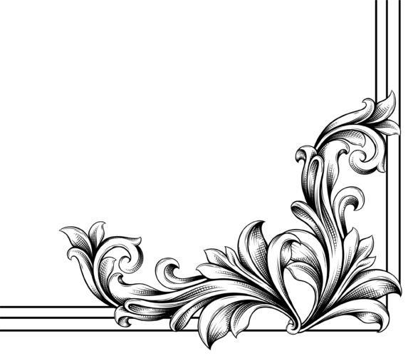 Gorgeous Creative Vector Image: Vector Image Engraved Floral Corner 1