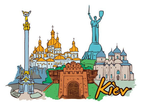 Kiev Vector Illustration Kiev Doodles Vector Illustration 1