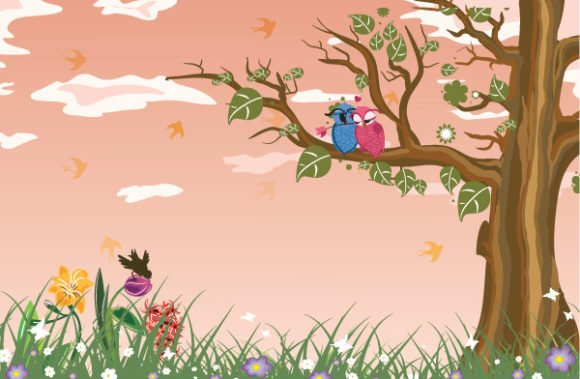 Illustration Vector Artwork: Love Birds Vector Artwork Illustration 1