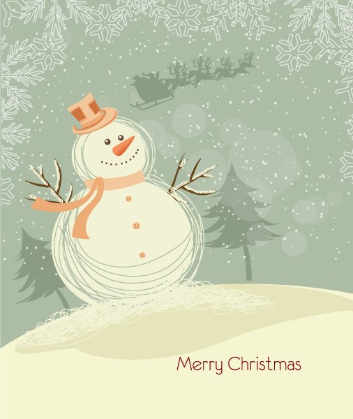 Bold With Vector Design: Vector Design Christmas Background With Snowman 1