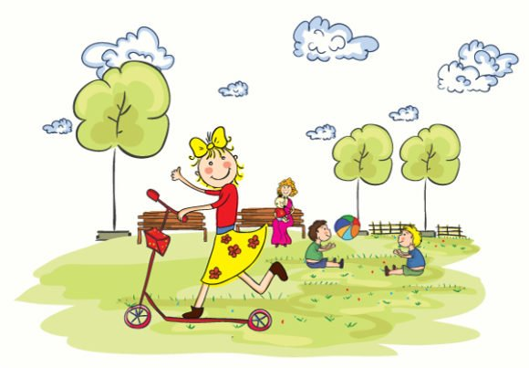 Park, Vector, Illustration Vector Kids Playing In The Park Vector Illustration 1