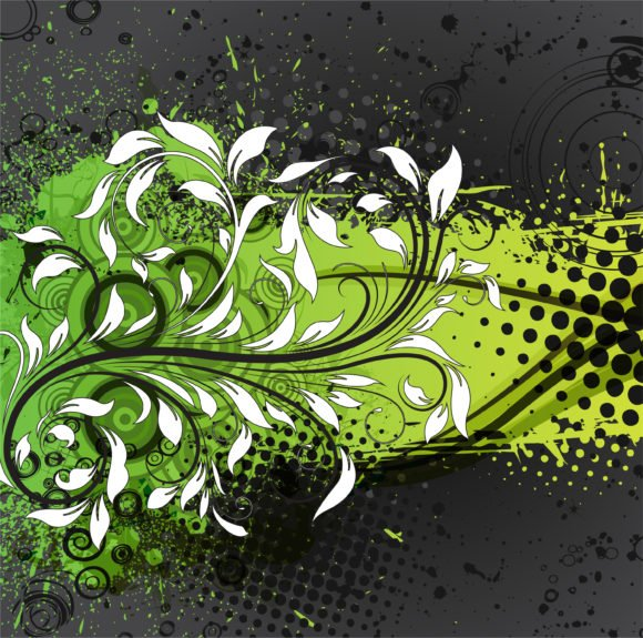 Floral, With, Dirt Vector Graphic Vector Grunge Background With Floral 1