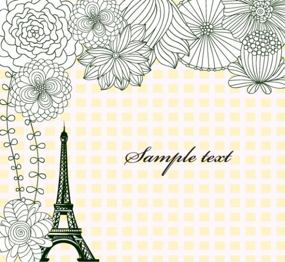Monument, Tower, Vector Vector Background Vector Eiffel Tower With Floral 1