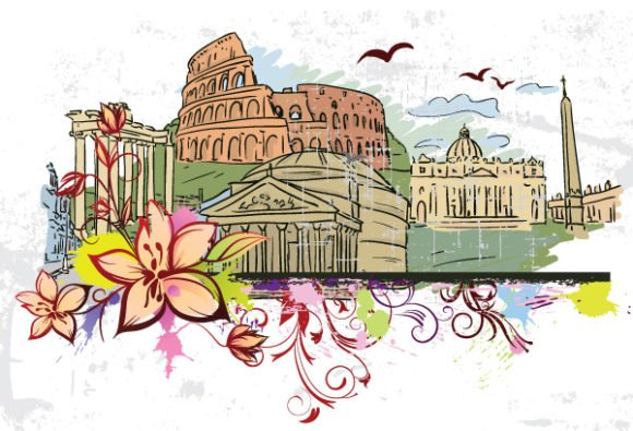 Exciting Vector Vector Artwork: Rome Doodles With Floral Vector Artwork Illustration 1