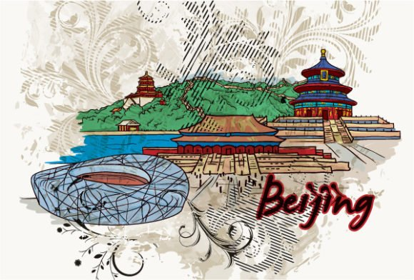 Illustration, Vector Vector Image Beijing Doodles With Floral Vector Illustration 1