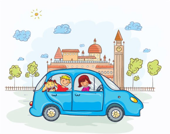 A, Illustration, Going Vector Design Family Going For A Ride Vector Illustration 1